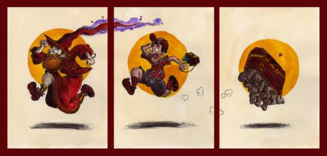 http://monkey-fromthebridge.deviantart.com/art/Rincewind-Twoflower-and-the-luggage-frieze-422580645
