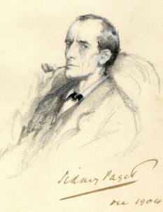 Portrait of Sherlock Holmes by Sidney Paget held at Portsmouth City Museum as part of the Lancelyn Green Bequest. It was published for the first time, in black and white, in the 2008 winter issue of The Sherlock Holmes Journal | Source: artintheblood.com
