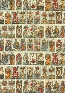 A series of antique tarot cards
