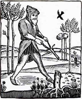 A water witch or dowser, redrawn from a sixteenth-century woodcut. Adapted from   A water witch or dowser, redrawn from a sixteenth-century woodcut. Adapted from Gilluly, Waters, and Woodford (1959)..