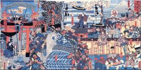 """""""An advert for Hayatake Torakichi's circus troupe in Hirokoji Street in Nishiryogoku."""" (""""REKIHAKU"""" No.118)"""