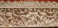 Bacchanalia (Bakkheia) scene on sarcophagus (210-220)