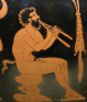 Satyr playing the aulos. Creusa Painter. ca. 400–390 BC.
